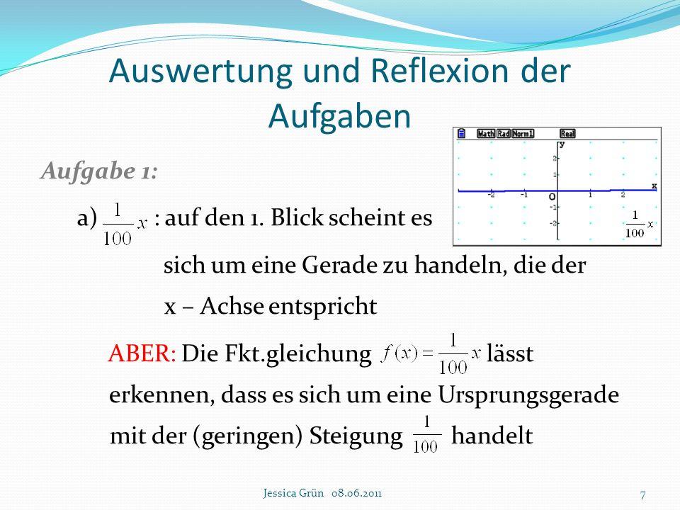"""Auswertung und Reflexion der Aufgaben Aufgabe 4 und 5: GTR als Medium: Darstellen der Funktionen und deren Ableitung Ablesen von charakteristischen Punkten unter Ausnutzungen mehrerer Bildaus- schnitte GTR als Werkzeug (""""Rechenknecht ): Argumentation, warum / wie viele Null-, Extrem- und Wendestellen vorliegen im Vordergrund Erleichterung des Rechenprozesses (aber: GTR gibt Werte nur näherungsweise an!!!) GTR als Entdecker: Aufstellen von Vermutungen, dann deren rechnerische Überprüfung Jessica Grün 08.06.201138"""