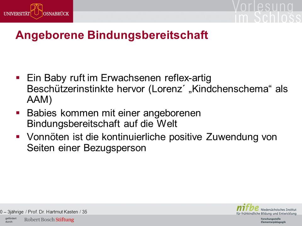 """ Ein Baby ruft im Erwachsenen reflex-artig Beschützerinstinkte hervor (Lorenz´ """"Kindchenschema als AAM)  Babies kommen mit einer angeborenen Bindungsbereitschaft auf die Welt  Vonnöten ist die kontinuierliche positive Zuwendung von Seiten einer Bezugsperson 0 – 3jährige / Prof."""