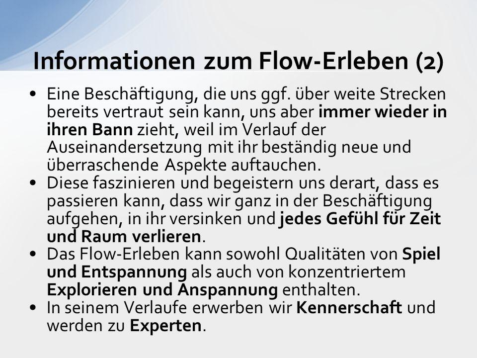 Informationen zum Flow-Erleben (2) Eine Beschäftigung, die uns ggf.