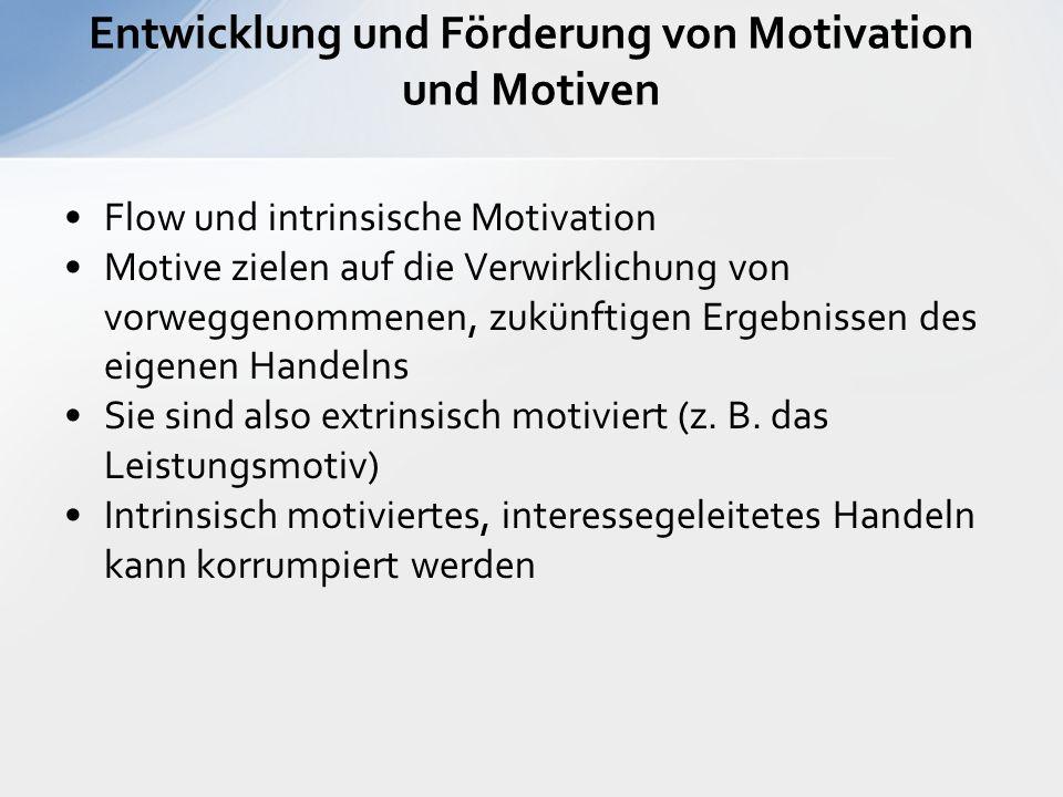Flow und intrinsische Motivation Motive zielen auf die Verwirklichung von vorweggenommenen, zukünftigen Ergebnissen des eigenen Handelns Sie sind also extrinsisch motiviert (z.