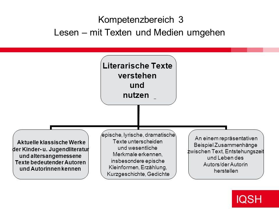 IQSH Beispiel Kompetenzentwicklungslinien – vertikale Vernetzung DEUTSCH Kompetenzbereich 3 Lesen – mit Texten und Medien umgehen