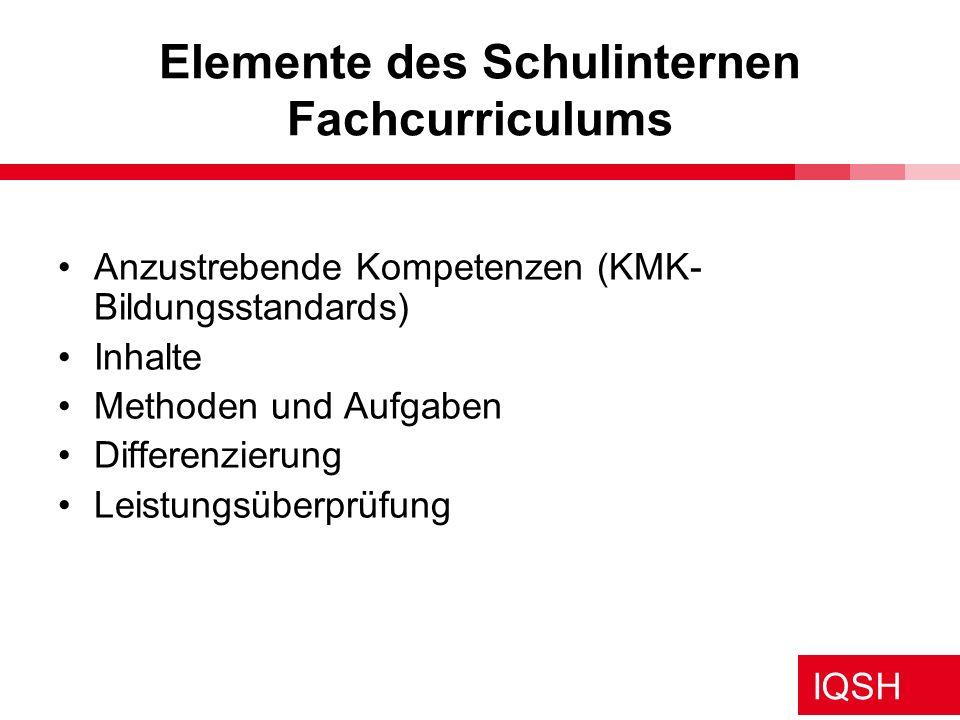 IQSH Vergleich: KMK-Bildungsstandards - Lehrplan SH Prinzip: Integrativer Deutschunterricht Lehrplan und Standards kompatibel - ergänzende Instrumente