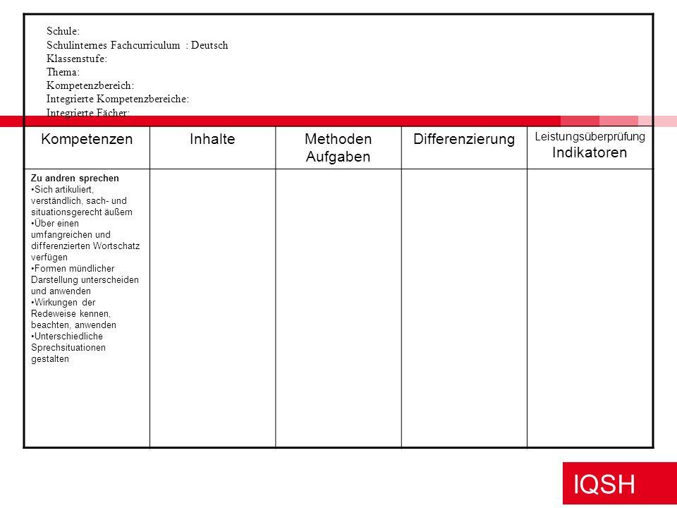 IQSH Strukturhilfen zur Erstellung schulinterner Fachcurricula http://faecher.lernnetz.de/ im Portal Deutsch im Ordner Standards/Lehrpläne unter schul