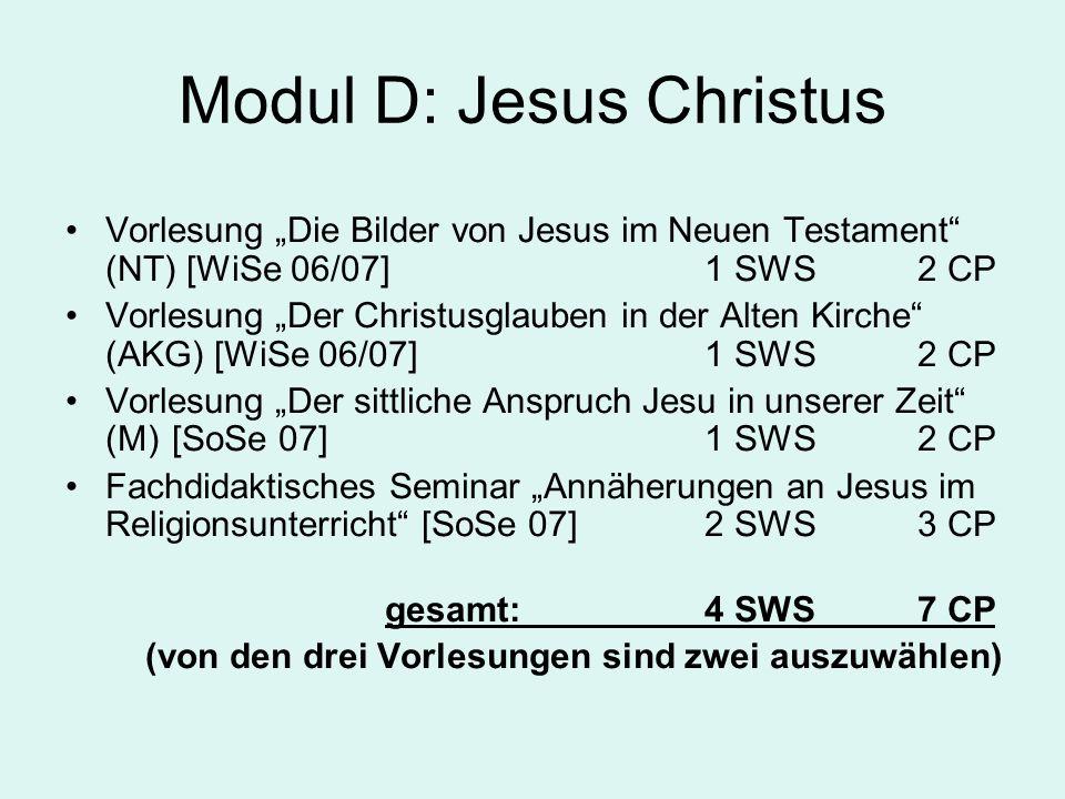 """Modul D: Jesus Christus Vorlesung """"Die Bilder von Jesus im Neuen Testament (NT) [WiSe 06/07]1 SWS 2 CP Vorlesung """"Der Christusglauben in der Alten Kirche (AKG) [WiSe 06/07]1 SWS 2 CP Vorlesung """"Der sittliche Anspruch Jesu in unserer Zeit (M)[SoSe 07]1 SWS 2 CP Fachdidaktisches Seminar """"Annäherungen an Jesus im Religionsunterricht [SoSe 07]2 SWS 3 CP gesamt:4 SWS 7 CP (von den drei Vorlesungen sind zwei auszuwählen)"""