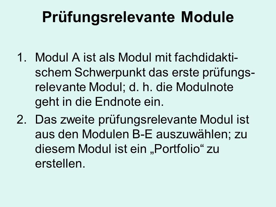 Prüfungsrelevante Module 1.Modul A ist als Modul mit fachdidakti- schem Schwerpunkt das erste prüfungs- relevante Modul; d.