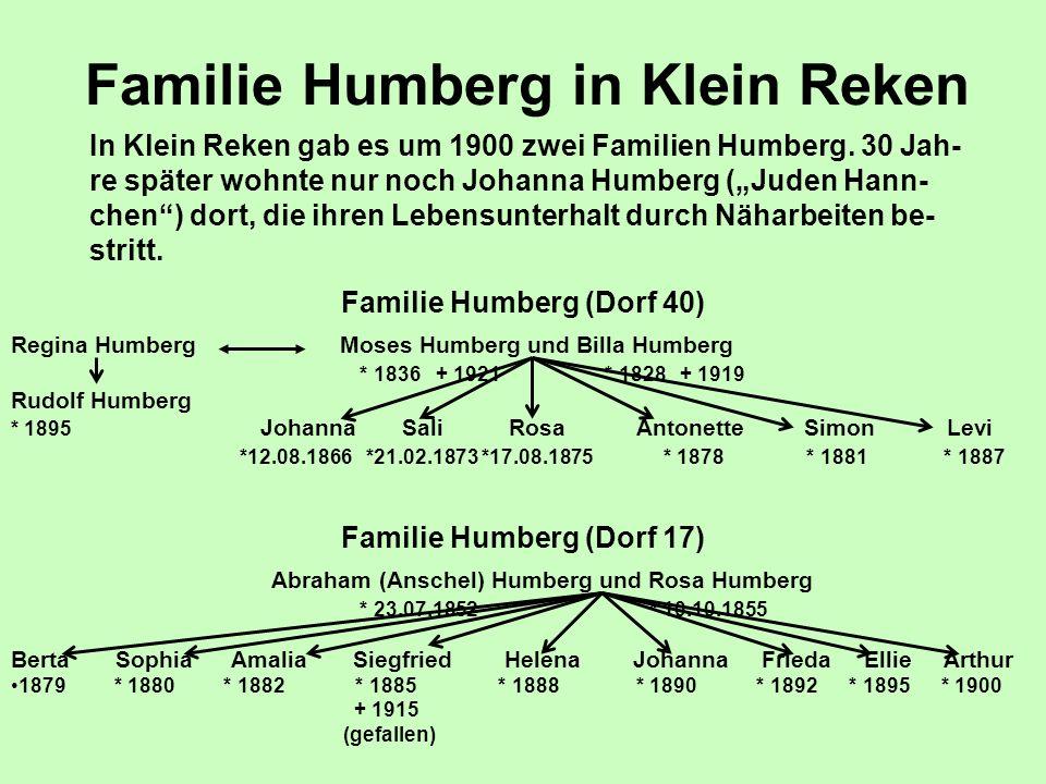 """Familie Humberg in Klein Reken In Klein Reken gab es um 1900 zwei Familien Humberg. 30 Jah- re später wohnte nur noch Johanna Humberg (""""Juden Hann- ch"""