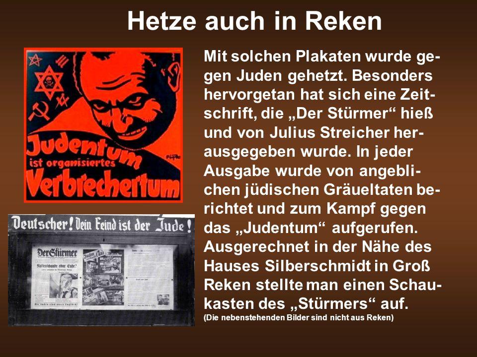 """Hetze auch in Reken Mit solchen Plakaten wurde ge- gen Juden gehetzt. Besonders hervorgetan hat sich eine Zeit- schrift, die """"Der Stürmer"""" hieß und vo"""