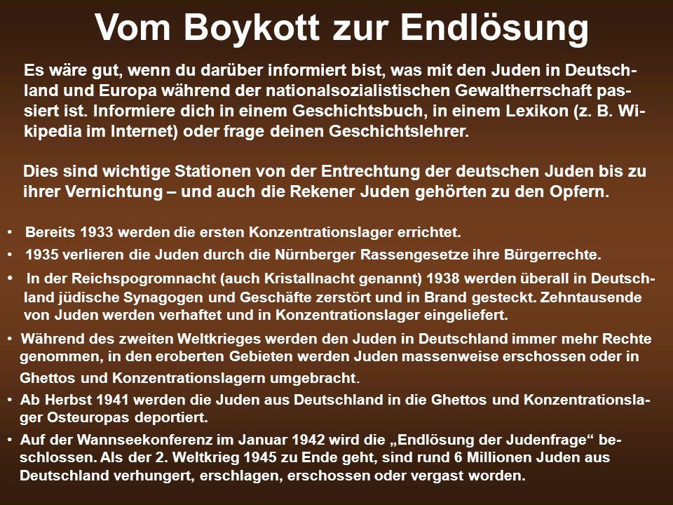Vom Boykott zur Endlösung Es wäre gut, wenn du darüber informiert bist, was mit den Juden in Deutsch- land und Europa während der nationalsozialistisc