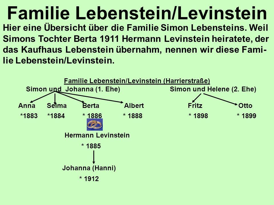 Familie Lebenstein/Levinstein Familie Lebenstein/Levinstein (Harrierstraße) Simon und Johanna (1. Ehe) Simon und Helene (2. Ehe) Anna Selma Berta Albe