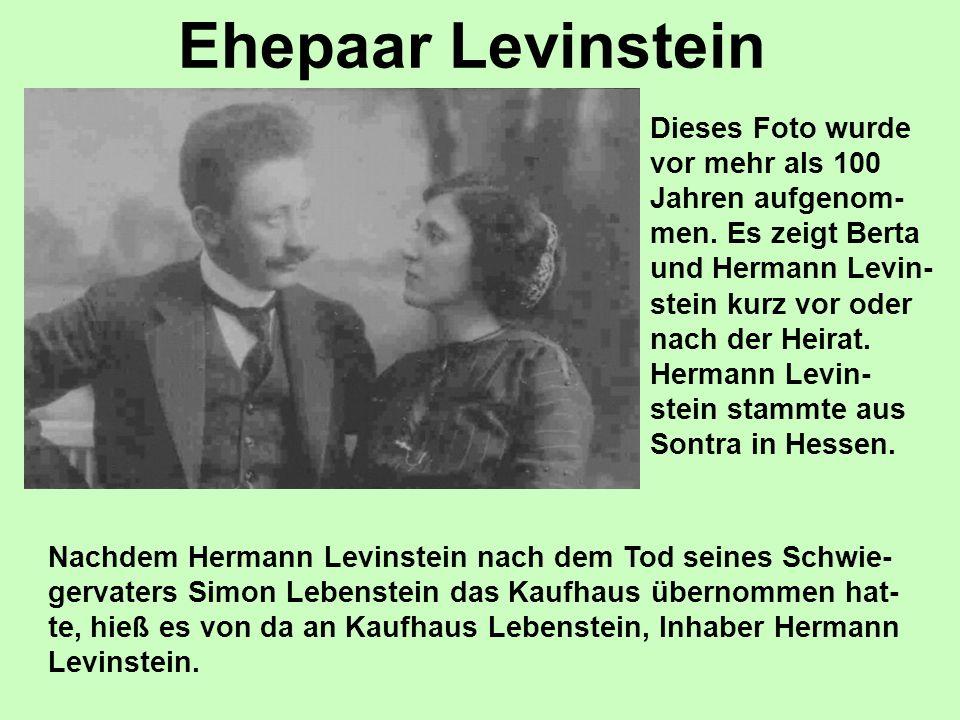 Ehepaar Levinstein Dieses Foto wurde vor mehr als 100 Jahren aufgenom- men. Es zeigt Berta und Hermann Levin- stein kurz vor oder nach der Heirat. Her