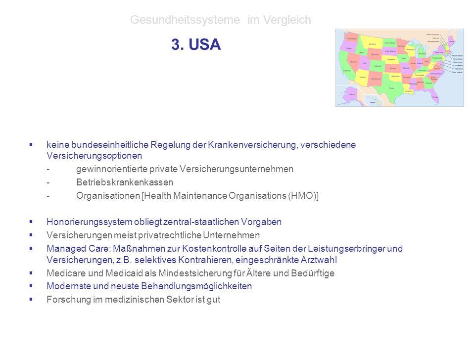 3. USA  keine bundeseinheitliche Regelung der Krankenversicherung, verschiedene Versicherungsoptionen -gewinnorientierte private Versicherungsunterne