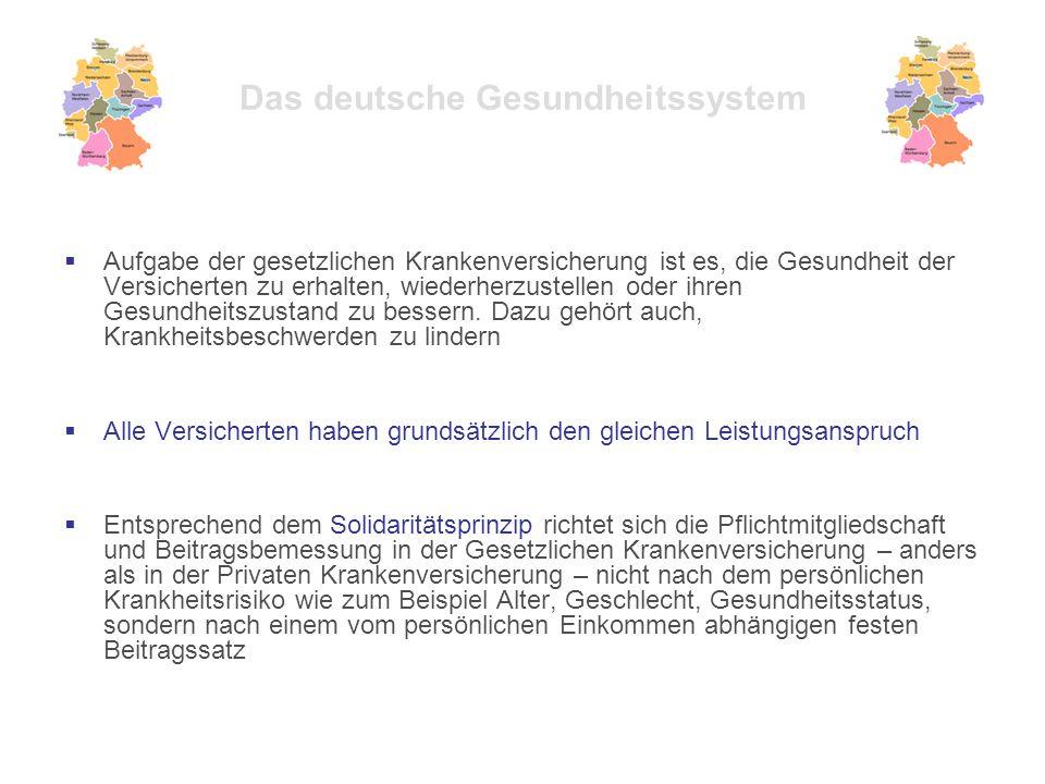 Das deutsche Gesundheitssystem  Aufgabe der gesetzlichen Krankenversicherung ist es, die Gesundheit der Versicherten zu erhalten, wiederherzustellen oder ihren Gesundheitszustand zu bessern.