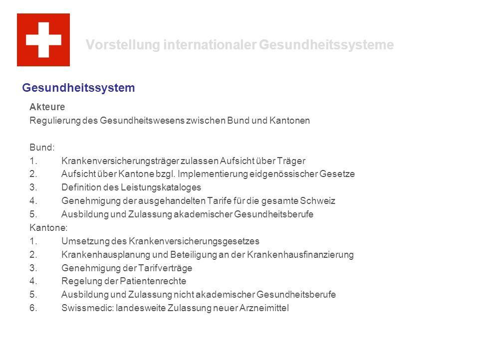 Vorstellung internationaler Gesundheitssysteme Akteure Regulierung des Gesundheitswesens zwischen Bund und Kantonen Bund: 1.Krankenversicherungsträger zulassen Aufsicht über Träger 2.Aufsicht über Kantone bzgl.