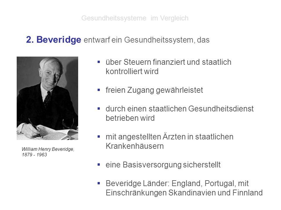 William Henry Beveridge, 1879 - 1963  über Steuern finanziert und staatlich kontrolliert wird  freien Zugang gewährleistet  durch einen staatlichen Gesundheitsdienst betrieben wird  mit angestellten Ärzten in staatlichen Krankenhäusern  eine Basisversorgung sicherstellt  Beveridge Länder: England, Portugal, mit Einschränkungen Skandinavien und Finnland 2.