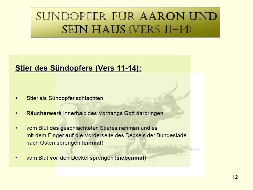 12 Sündopfer für Aaron Und sein Haus (vers 11-14) Stier des Sündopfers (Vers 11-14): Stier als Sündopfer schlachten Räucherwerk innerhalb des Vorhangs