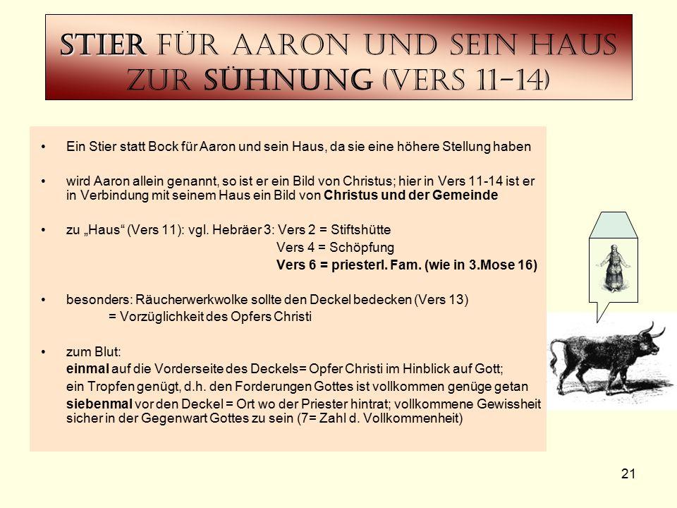 21 Stier Stier für Aaron und Sein haus zur Sühnung (Vers 11-14) Ein Stier statt Bock für Aaron und sein Haus, da sie eine höhere Stellung haben wird A