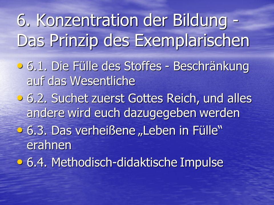 6. Konzentration der Bildung - Das Prinzip des Exemplarischen 6.1.