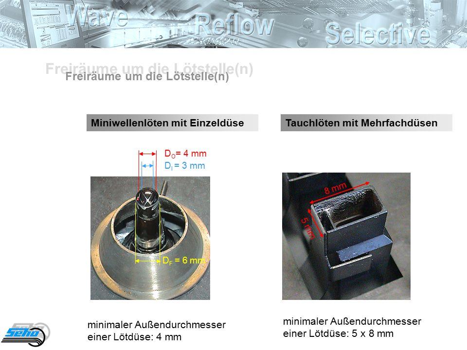 Freiräume um die Lötstelle(n) Miniwellenlöten mit EinzeldüseTauchlöten mit Mehrfachdüsen minimaler Außendurchmesser einer Lötdüse: 5 x 8 mm minimaler Außendurchmesser einer Lötdüse: 4 mm D O = 4 mm D I = 3 mm D F = 5 mm 8 mm 5 mm D O = 4 mm D I = 3 mm D F = 6 mm