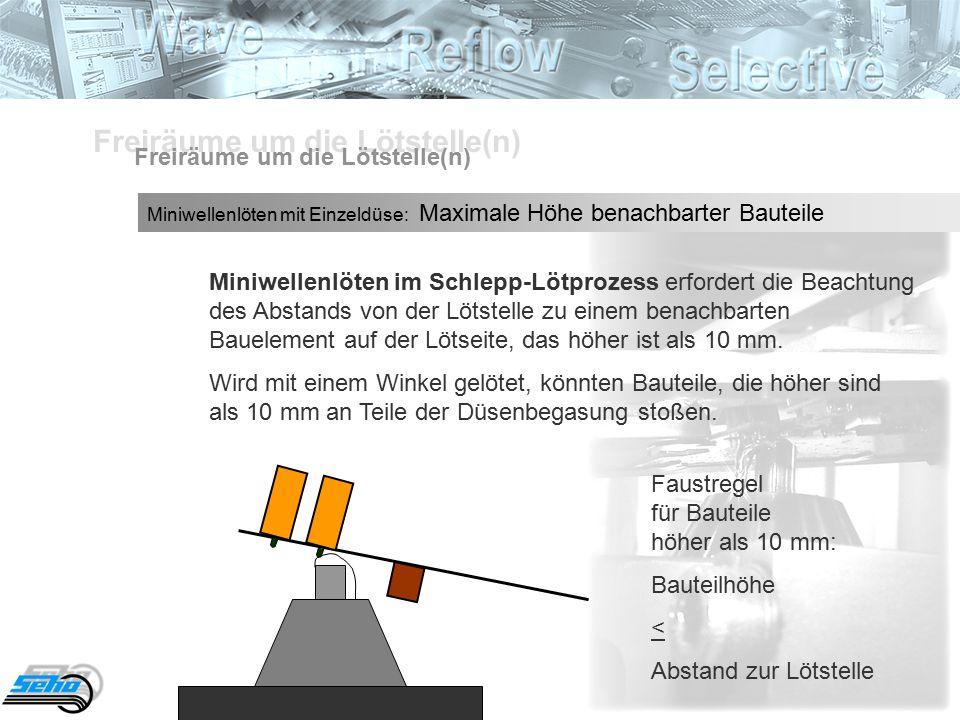 Miniwellenlöten im Schlepp-Lötprozess erfordert die Beachtung des Abstands von der Lötstelle zu einem benachbarten Bauelement auf der Lötseite, das höher ist als 10 mm.