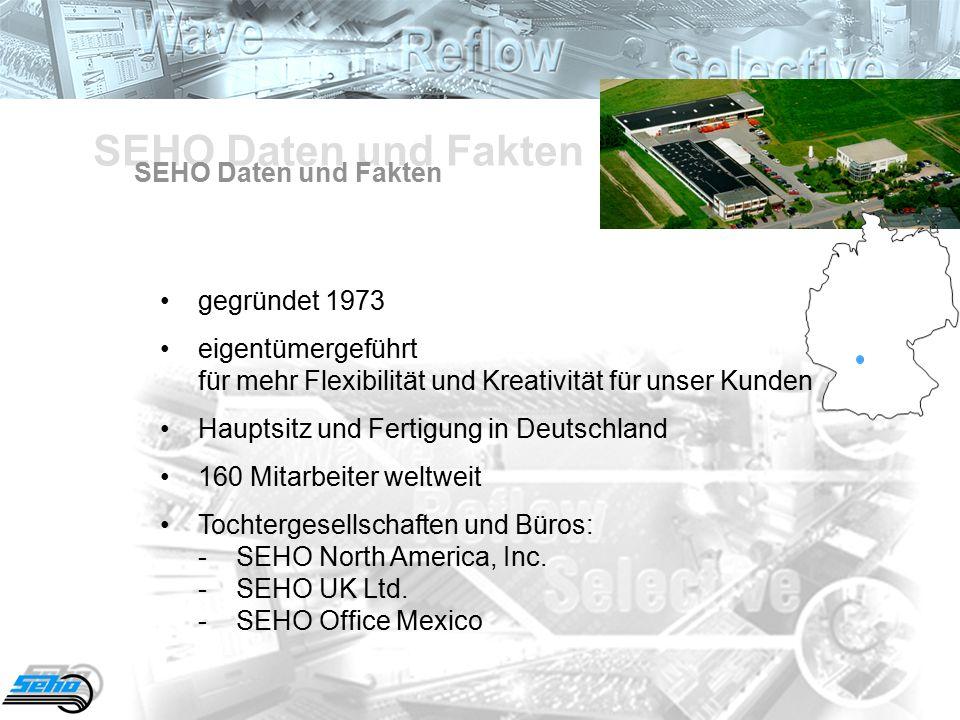 SEHO Daten und Fakten gegründet 1973 eigentümergeführt für mehr Flexibilität und Kreativität für unser Kunden Hauptsitz und Fertigung in Deutschland 160 Mitarbeiter weltweit Tochtergesellschaften und Büros: -SEHO North America, Inc.