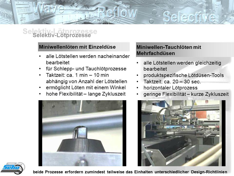 Miniwellenlöten mit Einzeldüse alle Lötstellen werden nacheinander bearbeitetfür Schlepp- und TauchlötprozesseTaktzeit: ca.