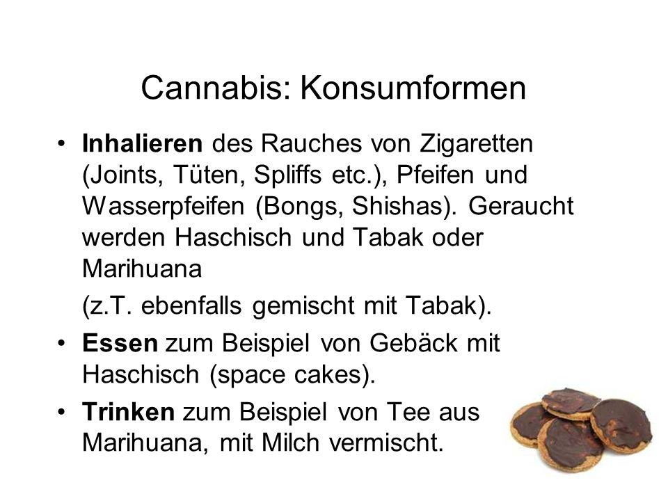 Cannabis: Konsumformen Inhalieren des Rauches von Zigaretten (Joints, Tüten, Spliffs etc.), Pfeifen und Wasserpfeifen (Bongs, Shishas).