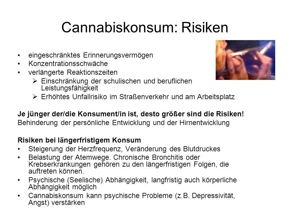 Cannabiskonsum: Risiken eingeschränktes Erinnerungsvermögen Konzentrationsschwäche verlängerte Reaktionszeiten  Einschränkung der schulischen und beruflichen Leistungsfähigkeit  Erhöhtes Unfallrisiko im Straßenverkehr und am Arbeitsplatz Je jünger der/die Konsument/in ist, desto größer sind die Risiken.