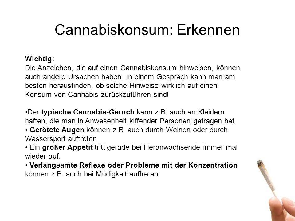 Cannabiskonsum: Erkennen Wichtig: Die Anzeichen, die auf einen Cannabiskonsum hinweisen, können auch andere Ursachen haben.