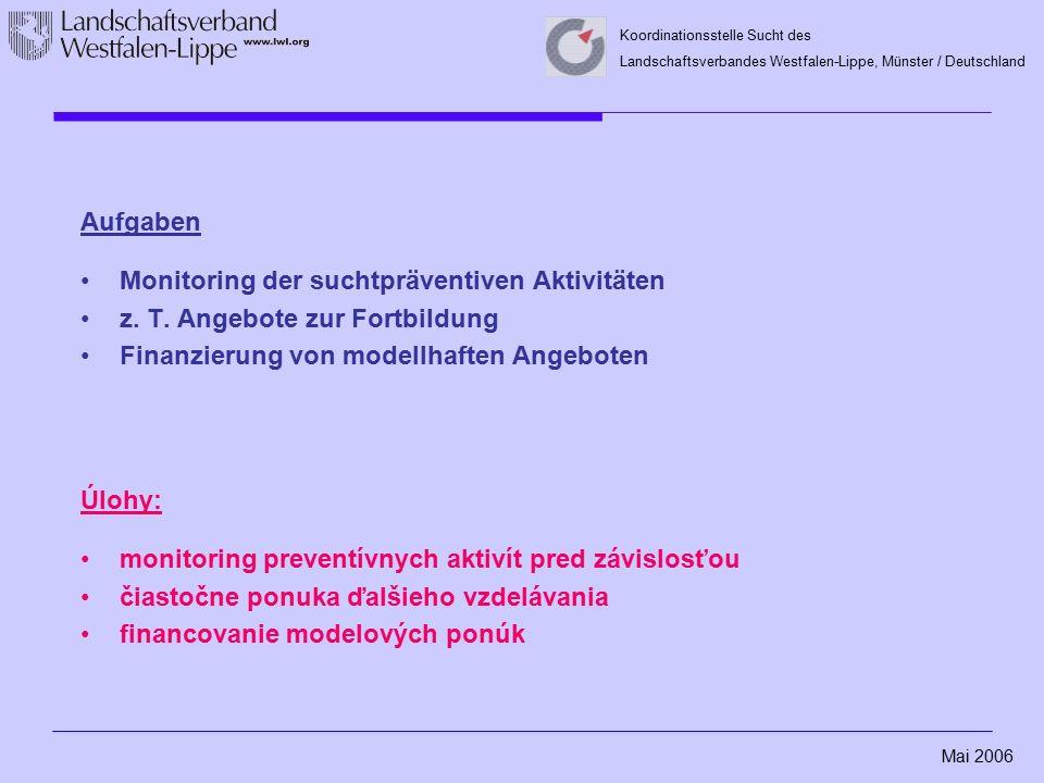Mai 2006 Koordinationsstelle Sucht des Landschaftsverbandes Westfalen-Lippe, Münster / Deutschland Aufgaben Monitoring der suchtpräventiven Aktivitäte