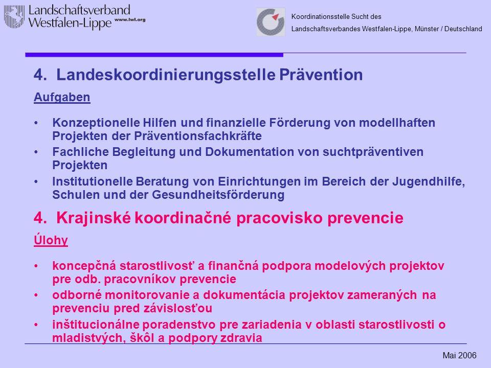 Mai 2006 Koordinationsstelle Sucht des Landschaftsverbandes Westfalen-Lippe, Münster / Deutschland 4. Landeskoordinierungsstelle Prävention Aufgaben K