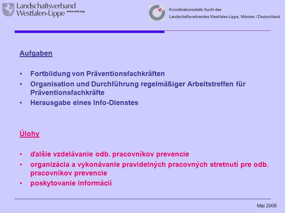 Mai 2006 Koordinationsstelle Sucht des Landschaftsverbandes Westfalen-Lippe, Münster / Deutschland Aufgaben Fortbildung von Präventionsfachkräften Organisation und Durchführung regelmäßiger Arbeitstreffen für Präventionsfachkräfte Herausgabe eines Info-Dienstes Úlohy ďalšie vzdelávanie odb.