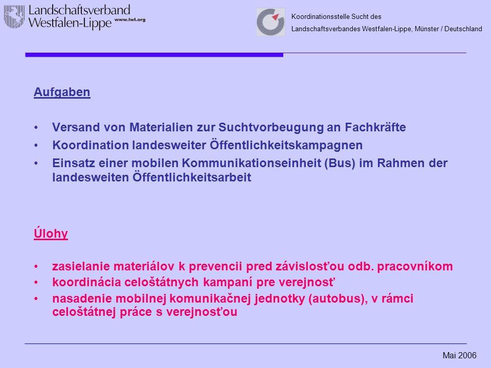 Mai 2006 Koordinationsstelle Sucht des Landschaftsverbandes Westfalen-Lippe, Münster / Deutschland Aufgaben Versand von Materialien zur Suchtvorbeugun