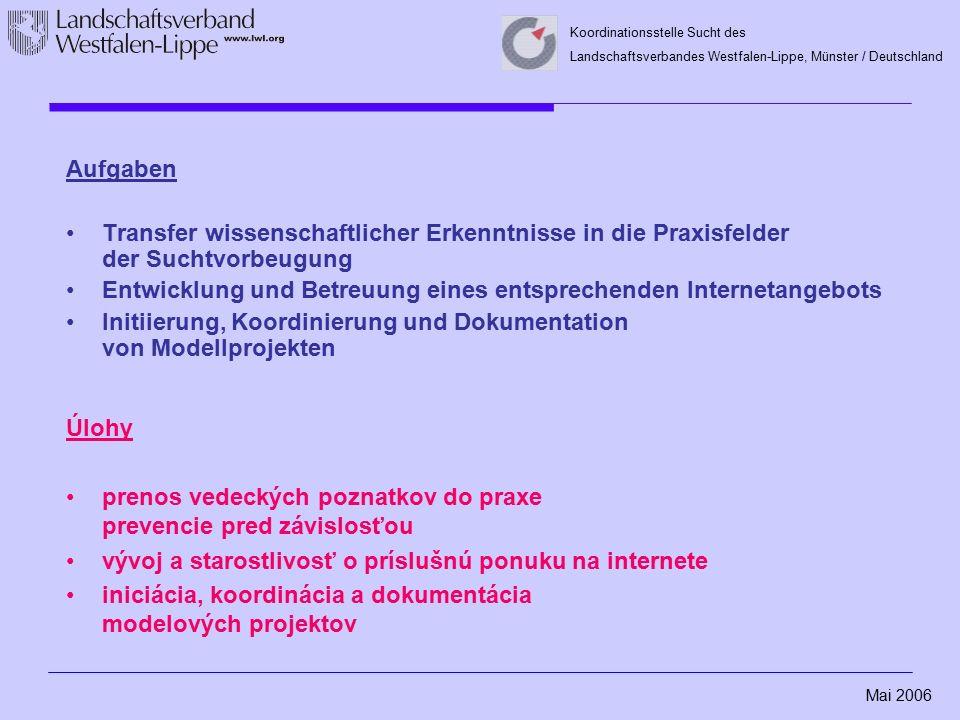 Mai 2006 Koordinationsstelle Sucht des Landschaftsverbandes Westfalen-Lippe, Münster / Deutschland Aufgaben Transfer wissenschaftlicher Erkenntnisse i