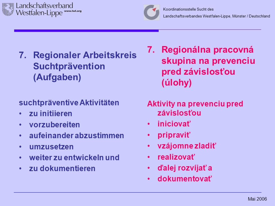 Mai 2006 Koordinationsstelle Sucht des Landschaftsverbandes Westfalen-Lippe, Münster / Deutschland 7.Regionaler Arbeitskreis Suchtprävention (Aufgaben