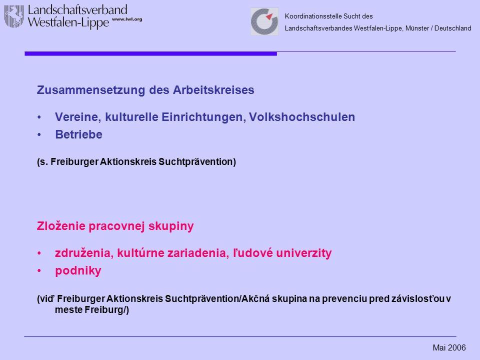 Mai 2006 Koordinationsstelle Sucht des Landschaftsverbandes Westfalen-Lippe, Münster / Deutschland Zusammensetzung des Arbeitskreises Vereine, kulture