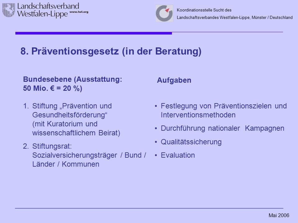 Mai 2006 Koordinationsstelle Sucht des Landschaftsverbandes Westfalen-Lippe, Münster / Deutschland Bundesebene (Ausstattung: 50 Mio. € = 20 %) Aufgabe