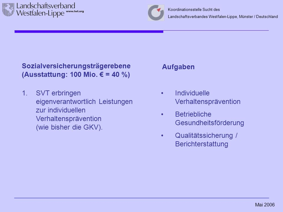 Mai 2006 Koordinationsstelle Sucht des Landschaftsverbandes Westfalen-Lippe, Münster / Deutschland Sozialversicherungsträgerebene (Ausstattung: 100 Mio.