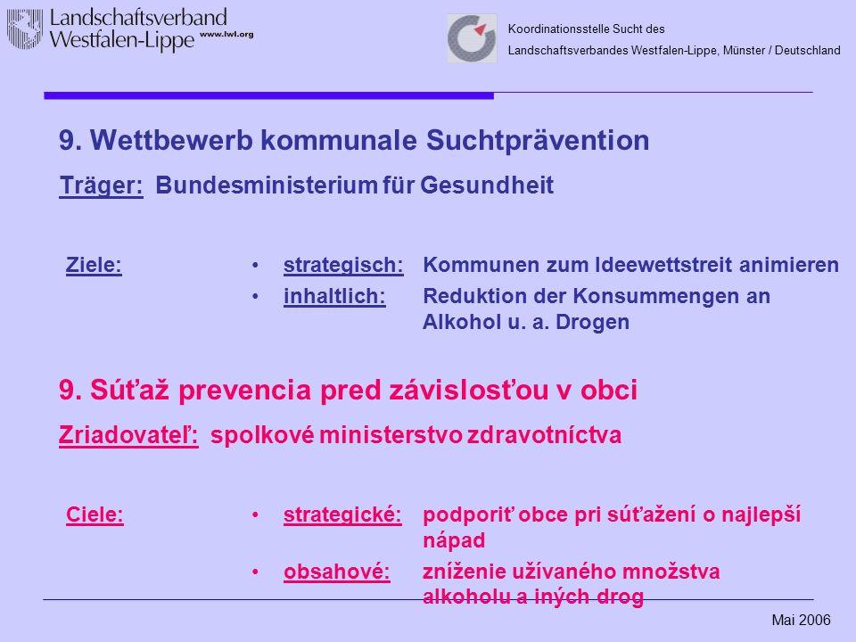 Mai 2006 Koordinationsstelle Sucht des Landschaftsverbandes Westfalen-Lippe, Münster / Deutschland 9. Wettbewerb kommunale Suchtprävention Träger: Bun