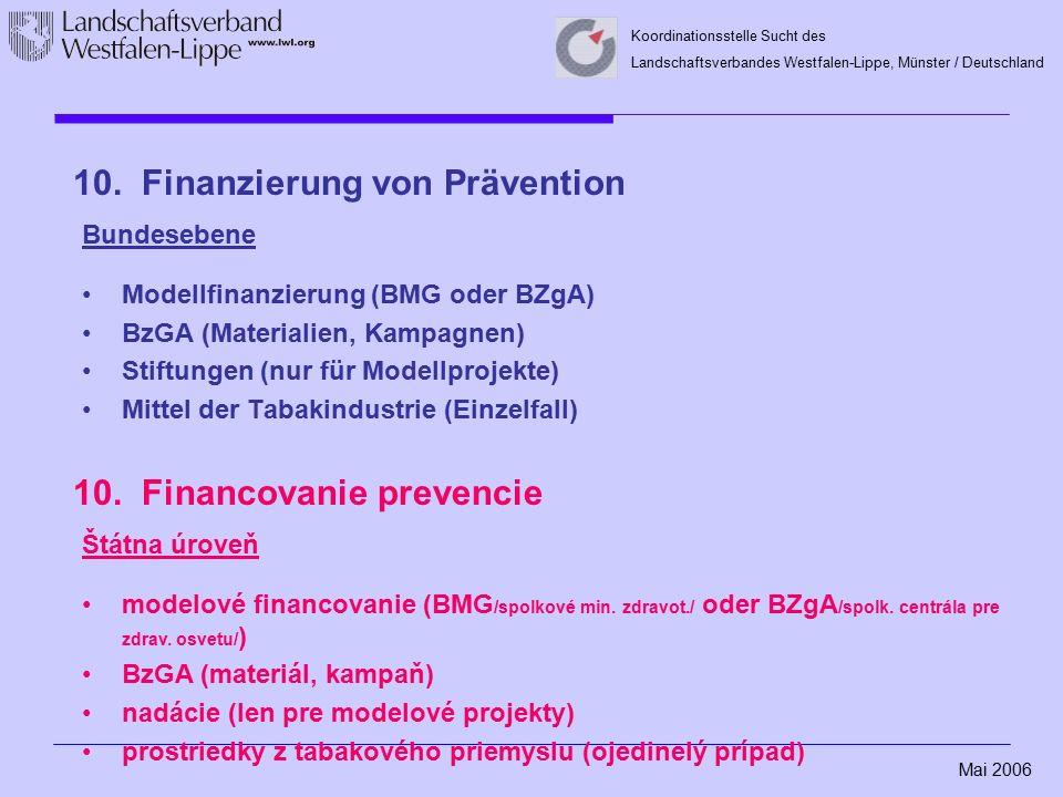 Mai 2006 Koordinationsstelle Sucht des Landschaftsverbandes Westfalen-Lippe, Münster / Deutschland 10. Finanzierung von Prävention Bundesebene Modellf