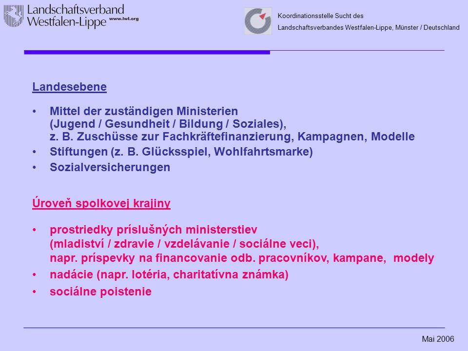 Mai 2006 Koordinationsstelle Sucht des Landschaftsverbandes Westfalen-Lippe, Münster / Deutschland Landesebene Mittel der zuständigen Ministerien (Jugend / Gesundheit / Bildung / Soziales), z.