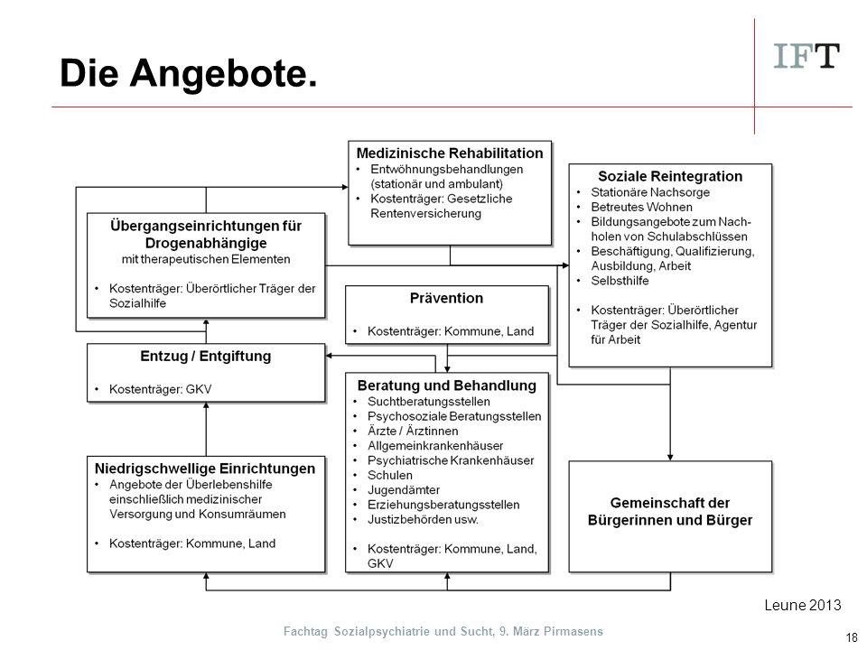 Die Angebote. 18 Leune 2013 Fachtag Sozialpsychiatrie und Sucht, 9. März Pirmasens