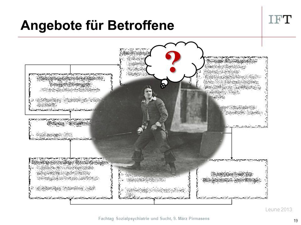 Angebote für Betroffene 19 Leune 2013 Fachtag Sozialpsychiatrie und Sucht, 9. März Pirmasens