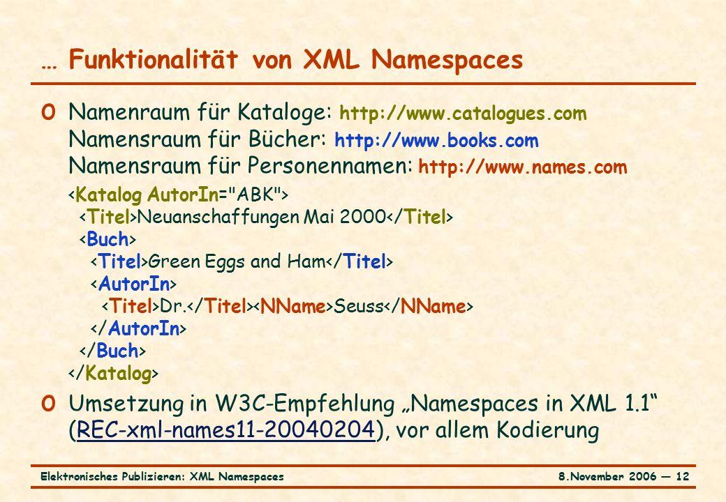 8.November 2006 ― 12Elektronisches Publizieren: XML Namespaces … Funktionalität von XML Namespaces o Namenraum für Kataloge: http://www.catalogues.com Namensraum für Bücher: http://www.books.com Namensraum für Personennamen: http://www.names.com Neuanschaffungen Mai 2000 Green Eggs and Ham Dr.