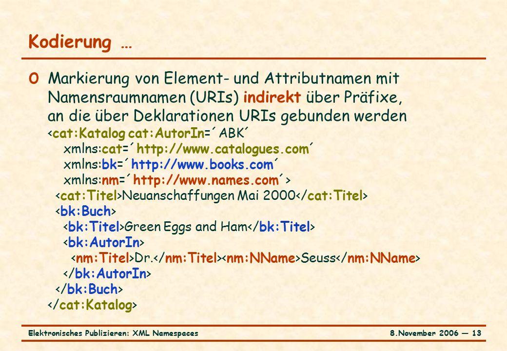 8.November 2006 ― 13Elektronisches Publizieren: XML Namespaces Kodierung … o Markierung von Element- und Attributnamen mit Namensraumnamen (URIs) indirekt über Präfixe, an die über Deklarationen URIs gebunden werden Neuanschaffungen Mai 2000 Green Eggs and Ham Dr.