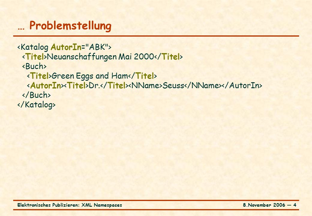 8.November 2006 ― 4Elektronisches Publizieren: XML Namespaces … Problemstellung Neuanschaffungen Mai 2000 Green Eggs and Ham Dr.