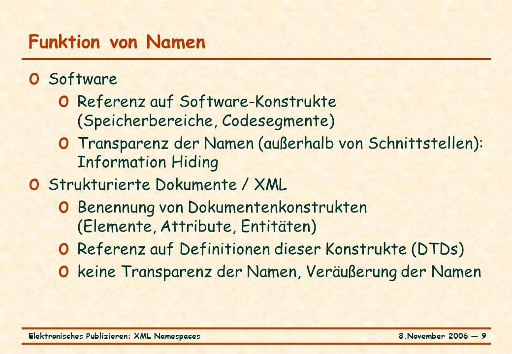 8.November 2006 ― 9Elektronisches Publizieren: XML Namespaces Funktion von Namen o Software o Referenz auf Software-Konstrukte (Speicherbereiche, Codesegmente) o Transparenz der Namen (außerhalb von Schnittstellen): Information Hiding o Strukturierte Dokumente / XML o Benennung von Dokumentenkonstrukten (Elemente, Attribute, Entitäten) o Referenz auf Definitionen dieser Konstrukte (DTDs) o keine Transparenz der Namen, Veräußerung der Namen
