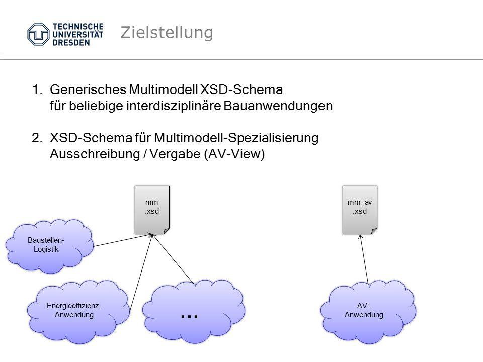 Zielstellung 1.Generisches Multimodell XSD-Schema für beliebige interdisziplinäre Bauanwendungen 2.XSD-Schema für Multimodell-Spezialisierung Ausschre