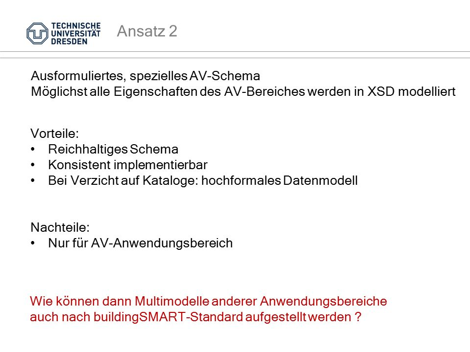 Ansatz 2 Ausformuliertes, spezielles AV-Schema Möglichst alle Eigenschaften des AV-Bereiches werden in XSD modelliert Vorteile: Reichhaltiges Schema K