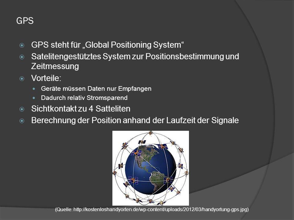 """GPS  GPS steht für """"Global Positioning System  Satelitengestütztes System zur Positionsbestimmung und Zeitmessung  Vorteile: Geräte müssen Daten nur Empfangen Dadurch relativ Stromsparend  Sichtkontakt zu 4 Satteliten  Berechnung der Position anhand der Laufzeit der Signale (Quelle: http://kostenloshandyorten.de/wp-content/uploads/2012/03/handyortung-gps.jpg)"""