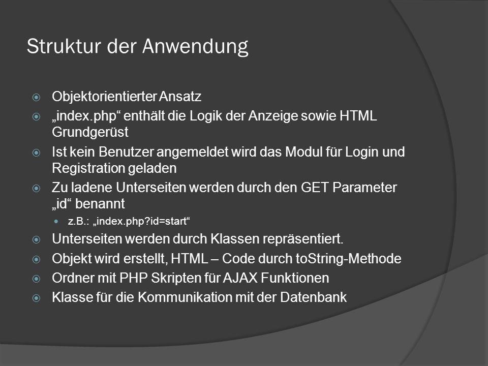 """Struktur der Anwendung  Objektorientierter Ansatz  """"index.php enthält die Logik der Anzeige sowie HTML Grundgerüst  Ist kein Benutzer angemeldet wird das Modul für Login und Registration geladen  Zu ladene Unterseiten werden durch den GET Parameter """"id benannt z.B.: """"index.php?id=start  Unterseiten werden durch Klassen repräsentiert."""